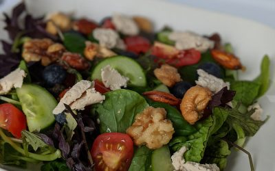 Simple and Quick Vegan Salad with Faux Naturel Fauxmage and Candied Nuts